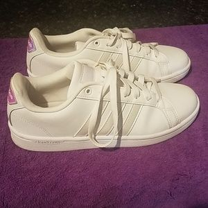 Adidas all white sneakers